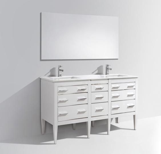 Eiffel 60'' High Gloss White Vanity W/ Quartz Counter Top