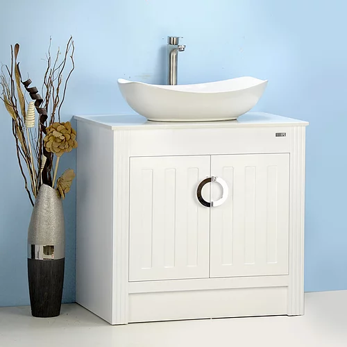 "30"" Vessel Sink Bathroom Vanity with Stone Top"