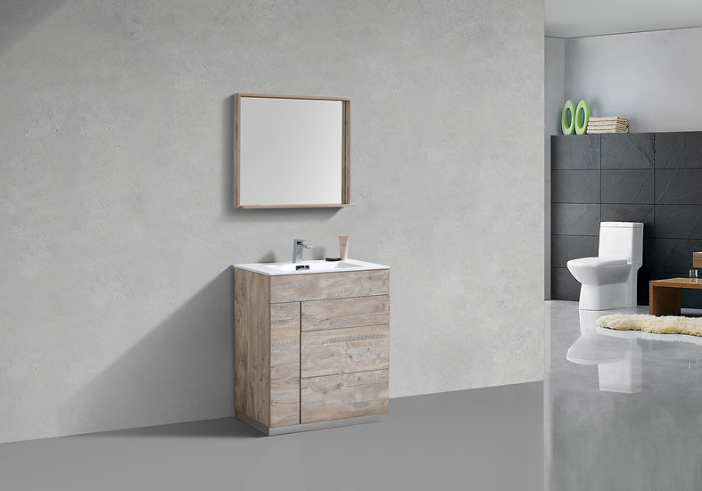 MILANO 30″ NATURE WOOD FLOOR MOUNT MODERN BATHROOM VANITY