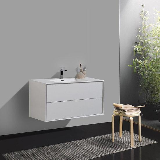 "36"" FLEUR - White - Single Sink Wall-Hung Bathroom Vanity"