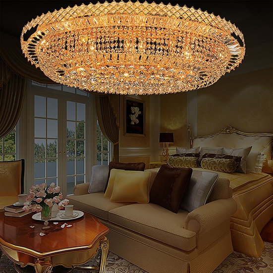 24-Light Large Gold Crystal Ceiling Light, LIG8429269239