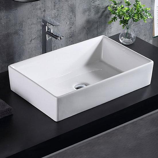 LBG White Rectangle Ceramic Above Counter Basin