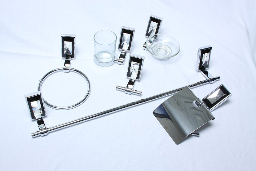 6 Piece Black and Clear Bathroom Accessories Set