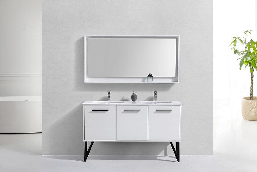 LUXURYBATH 60″ HIGH GLOSS WHITE MODERN BATHROOM VANITY W/ WHITE COUNTERTOP