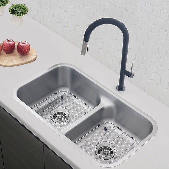 32 in Dual Mount Double Bowl Kitchen Sink, 16 Gauge Stainless Steel