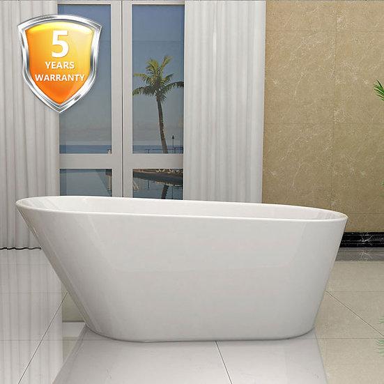 61 In Seamless White Acrylic Freestanding Bathtub