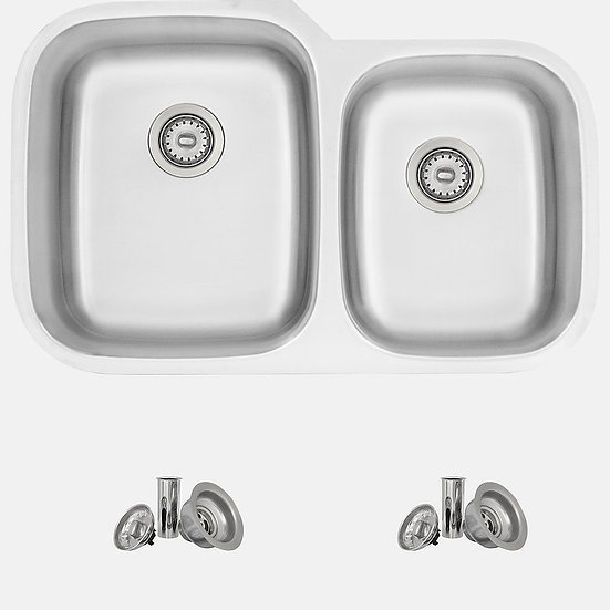 2 in Dual Mount Double Bowl Kitchen Sink, 18 Gauge Stainless Steel with Standard