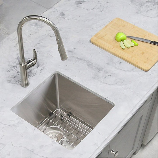 15 in Single Bowl Bar Sink, 18 Gauge Stainless Steel with Grid and Basket Strain