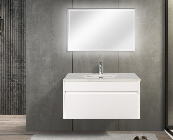 "36"" LAMINA - White - Single Sink Wall-Hung Vanity with Quartz Countertop"