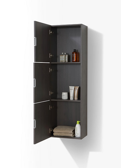 BATHROOM BLACK WOOD LINEN SIDE CABINET W/ 3 LARGE STORAGE AREAS