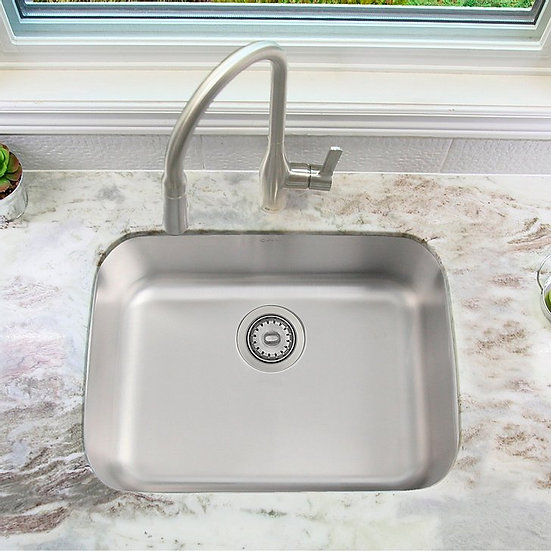 23 in Dual Mount Single Bowl Kitchen Sink, 18 Gauge Stainless Steel with Standar