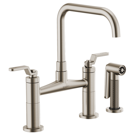LITZE® BRIDGE FAUCET WITH SQUARE SPOUT AND INDUSTRIAL HANDLE