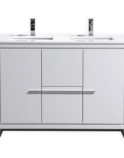 """Dolce 48"""" High Gloss White Double Sink Vanity"""