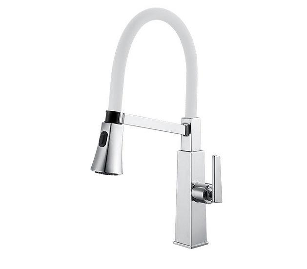 Acqua + Bango, Solid Brass single handle Kitchen Faucet , White/Chrome