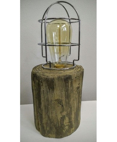 Concrete Log Lamp with Cage