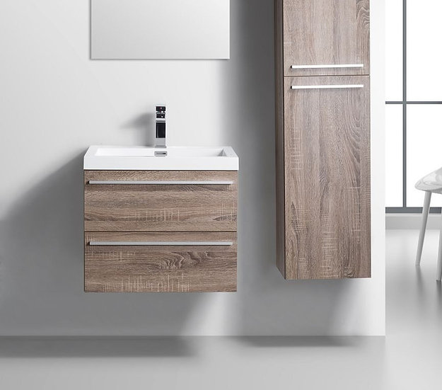 "24"" SOFIA - Soft Oak - Single Sink Wall-Hung Bathroom Vanity"