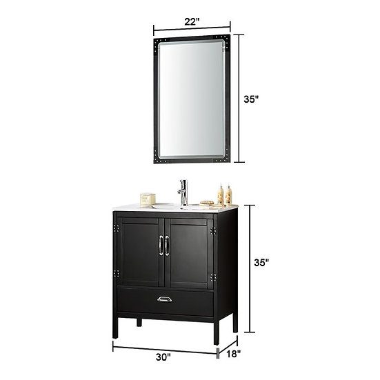 30 In. Freestanding Bathroom Vanity Set with Mirror