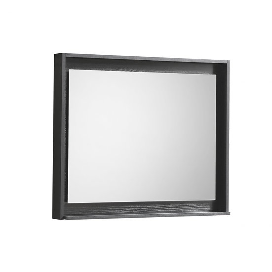 """30"""" Wide Mirror w/ Shelf - Black"""