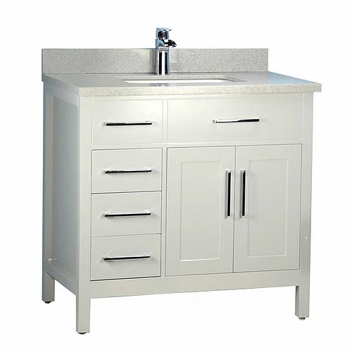 """36"""" Classic Style Grey Solid Wood Bathroom Vanity with Stone Top"""