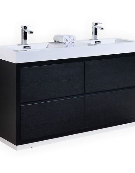 "Bliss 60"" Black Double Sink Free Standing Vanity"
