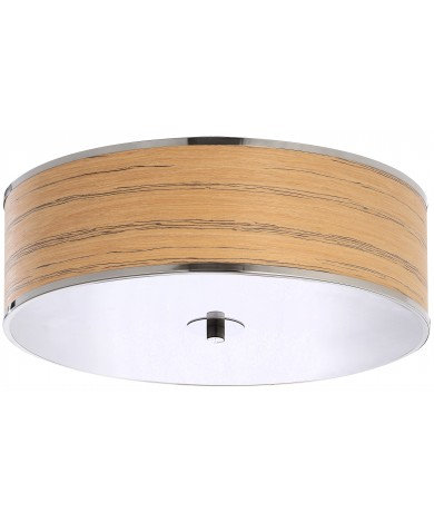 Large Flush Mount with Wooden Veneer Shade