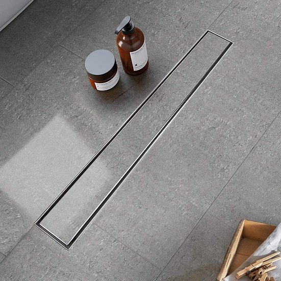 Acqua+Bango 24 Inch Linear Shower Drain with 2-In-1 Flat Cover and Tile