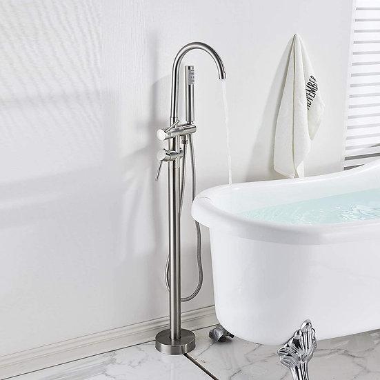Acqua + Bango Brushed Nickel Freestanding Tub Filler Bathtub Shower Faucet with
