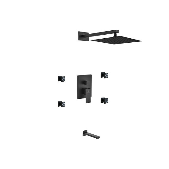 AQUA PIAZZA BLACK SHOWER SET W/ 12″ SQUARE RAIN SHOWER, TUB FILLER AND 4 BODY JE