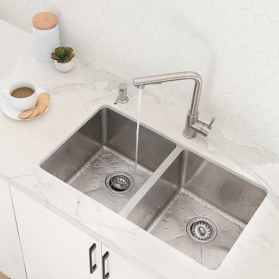 STYLISH 31'' TOLEDO Undermount Double Bowl Kitchen Sink, 18 ga. Stainless Steel