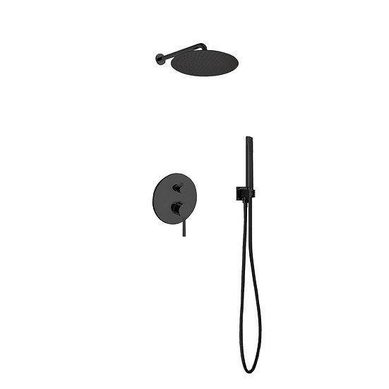 AQUA RONDO BLACK SHOWER SET W/ 12″ RAIN SHOWER AND HANDHELD
