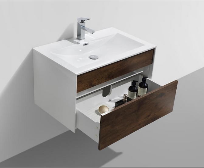 Fitto 32'' Rosewood Wall Mount Modern Bathroom Vanity