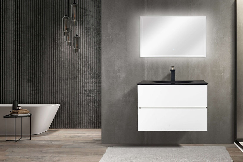 "30"" Emily - White - Single Sink Wall-Hung Bathroom Vanity"