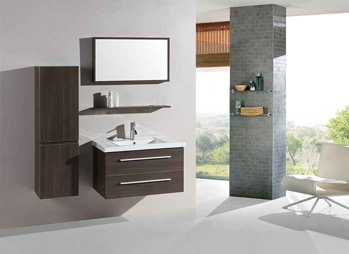 32 In. Wall Mount Bathroom Vanity Set with Single Sink and Mirror and Cabinet