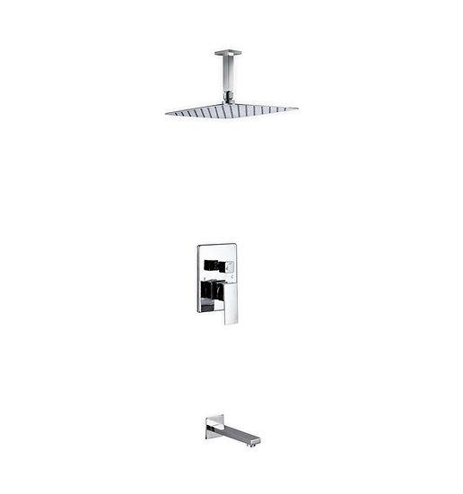 "Aqua Piazza: 12"" Ceiling Mount Square Rain Shower and Tub Filler"