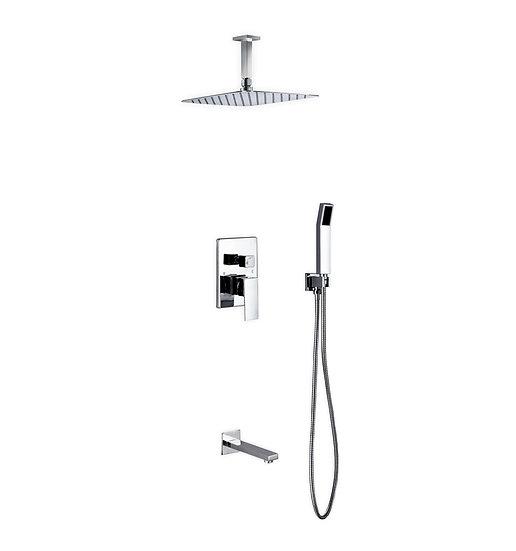 "Aqua Piazza: 12"" Ceiling Mount Square Rain Shower, Handheld & Tub Filler"