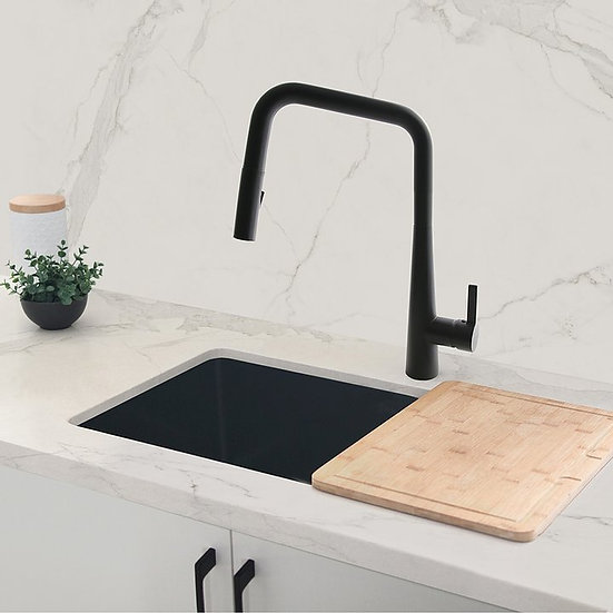 Single Handle Pull Down Kitchen Faucet - Matte Black Finish by Stylish® K-143N