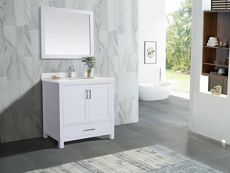 "36"" Carmela White - White Quartz - Single Sink Bathroom Vanity"