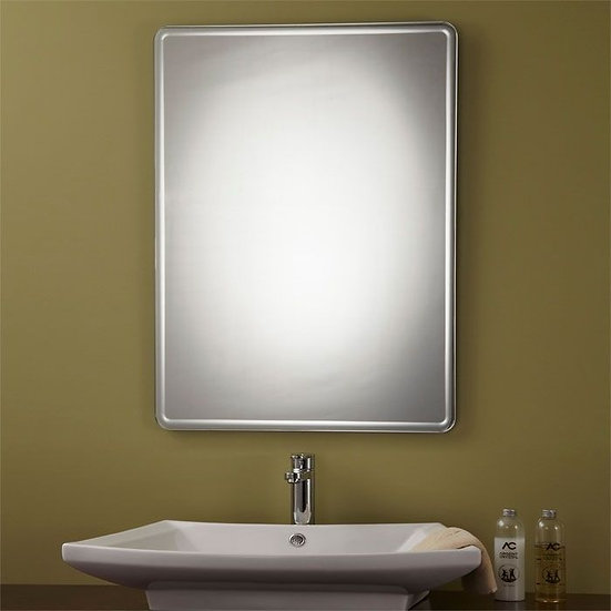 24 x 32 In Unframed Bathroom Silvered Mirror - Reversible and Round Polished Edg
