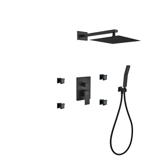 AQUA PIAZZA BLACK SHOWER SET W/ 12″ SQUARE RAIN SHOWER, HANDHELD AND 4 BODY JETS