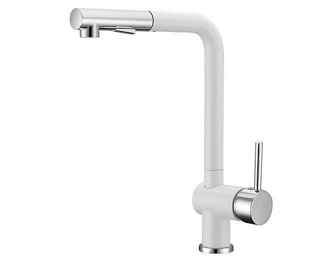 Acqua + Bango, Solid Brass single handle Kitchen Faucet, White/Chrome