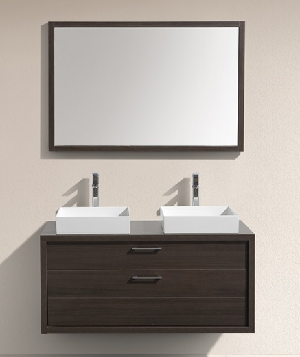 "Tucci 48"" Gray Oak Wall Mount Double Sink Modern Bathroom Vanity"