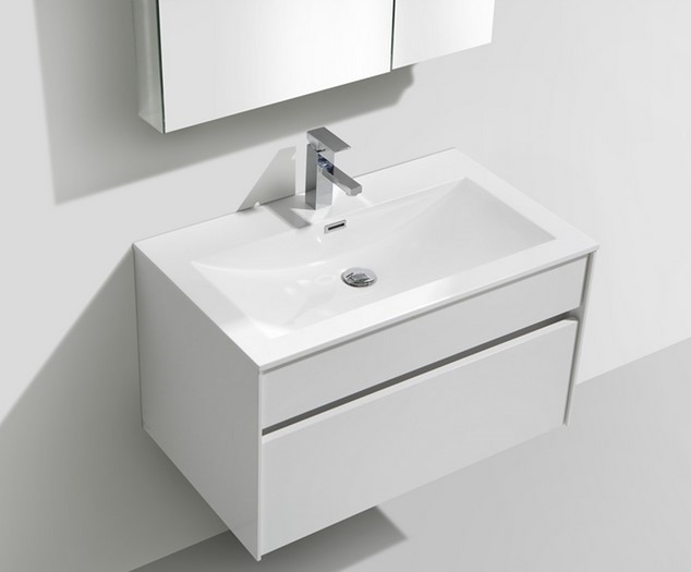 "Fitto 32"" Gloss White Wall Mount Modern Bathroom Vanity"