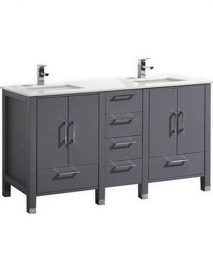 "Anziano 60"" Matte Gray Double Sink Vanity"