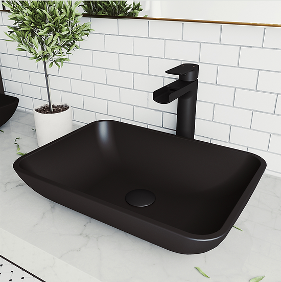 MATTESHELL™ Black Glass Handmade Rectangular Vessel Bathroom Sink