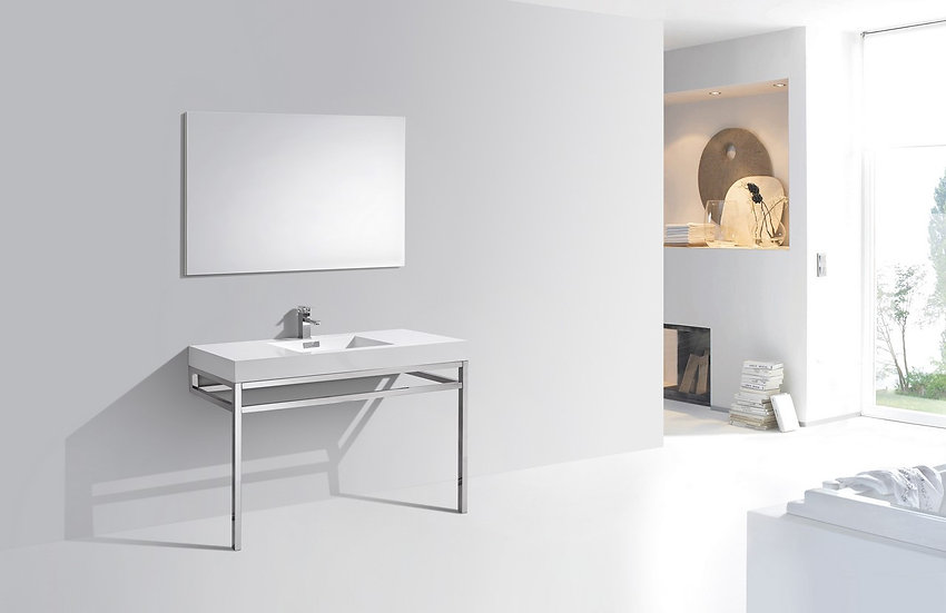 """Haus 48"""" Stainless Steel Console w/ White Acrylic Sink - Chrome, LBVKHAUS48"""