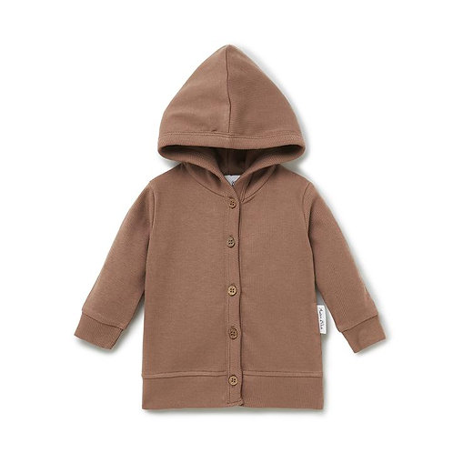 Cocoa Rib Hooded Cardigan
