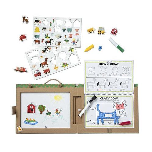 Natural Play: Play, Draw, Create Reusable Drawing & Magnet Kit - Farm