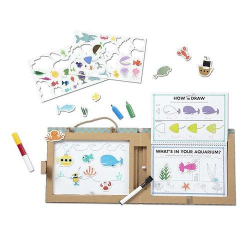 Natural Play: Play, Draw, Create Reusable Drawing & Magnet Kit - Ocean