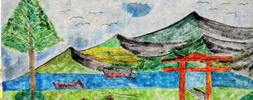 Mountains Tree and Torri