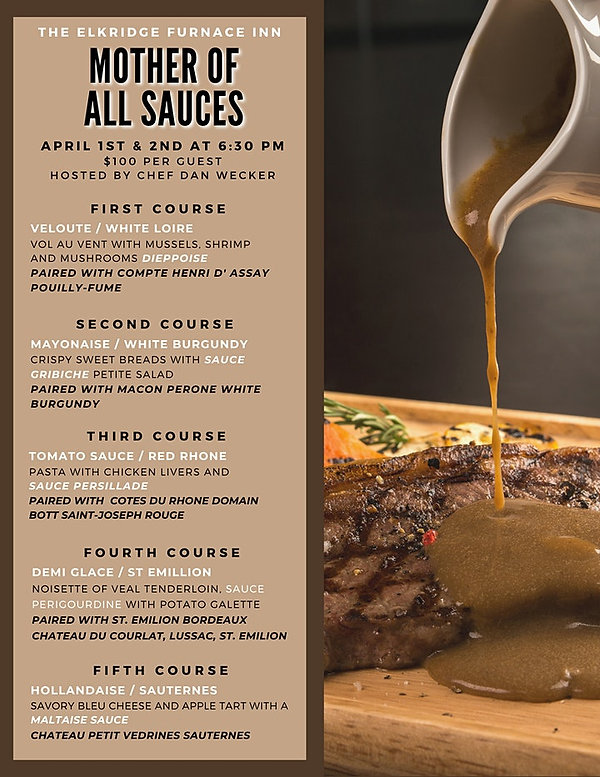 Mother of All Sauces Menu
